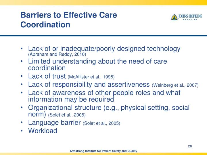 Barriers to Effective Care Coordination