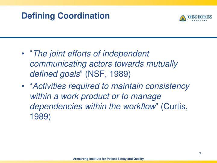 Defining Coordination