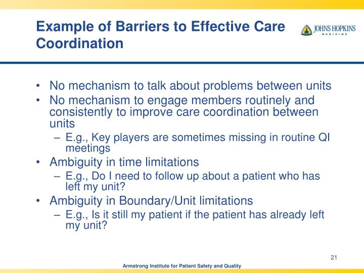 Example of Barriers to Effective Care Coordination