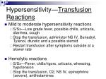 hypersensitivity transfusion reactions