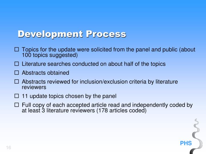 Topics for the update were solicited from the panel and public (about 100 topics suggested)