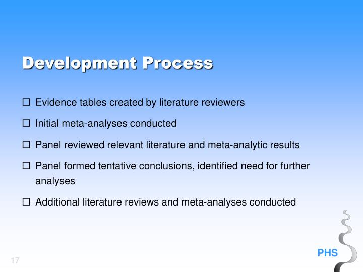 Evidence tables created by literature reviewers