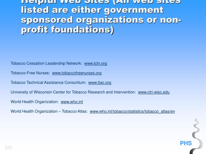 Helpful Web Sites (All web sites listed are either government sponsored organizations or non-profit foundations)