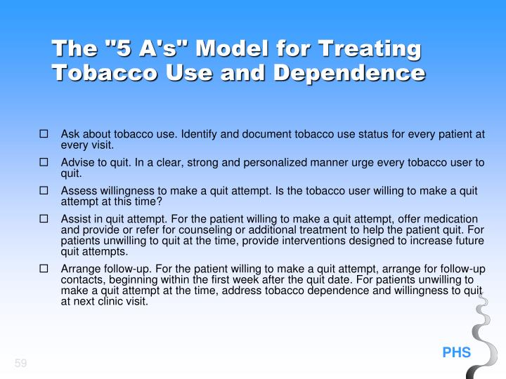 "The ""5 A's"" Model for Treating Tobacco Use and Dependence"