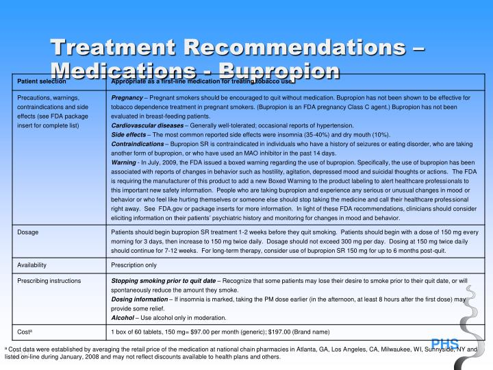 Treatment Recommendations – Medications - Bupropion