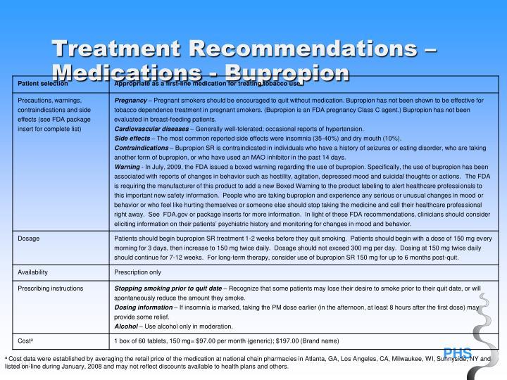 Treatment Recommendations – Medications - Bupropion