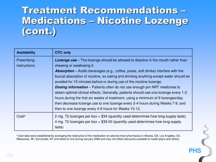 Treatment Recommendations – Medications – Nicotine Lozenge (cont.)