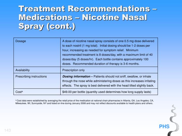 Treatment Recommendations – Medications – Nicotine Nasal Spray (cont.)