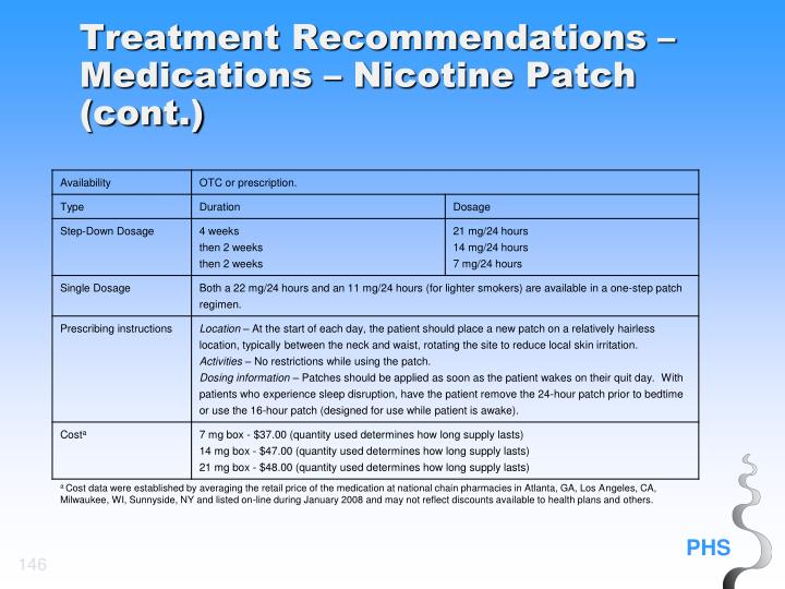 Treatment Recommendations – Medications – Nicotine Patch (cont.)