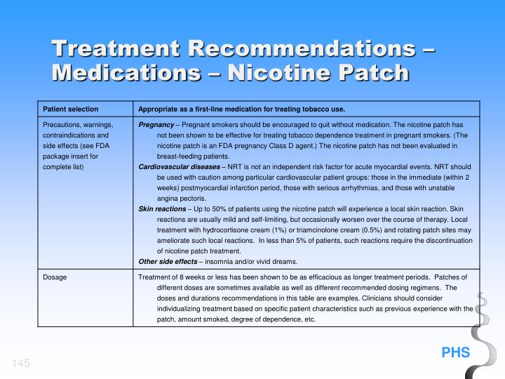 Treatment Recommendations – Medications – Nicotine Patch