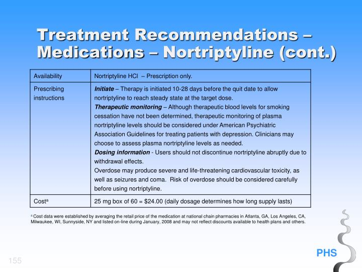 Treatment Recommendations – Medications – Nortriptyline (cont.)