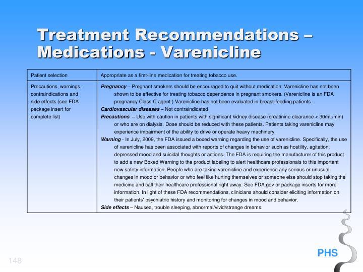 Treatment Recommendations – Medications - Varenicline