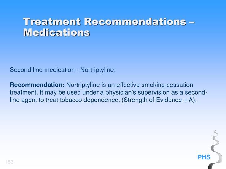 Treatment Recommendations – Medications