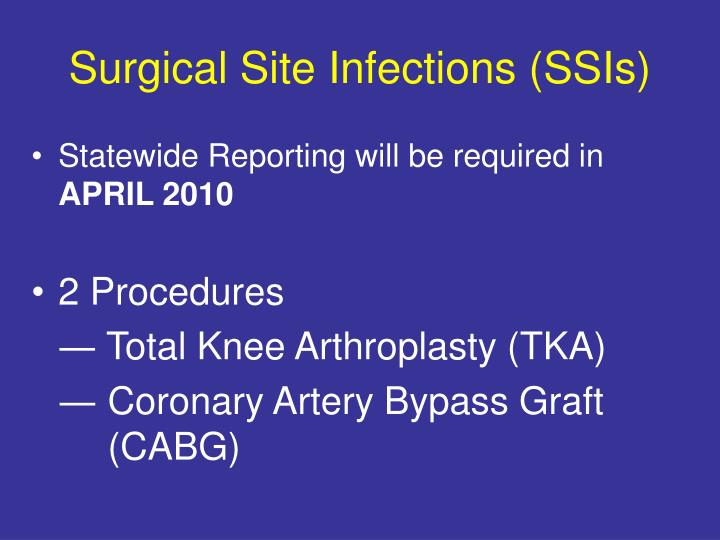 Surgical Site Infections (SSIs)
