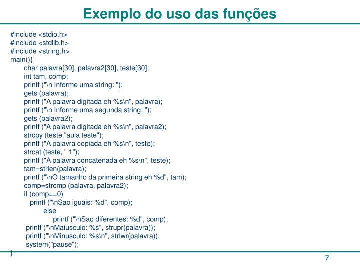 Exemplo do uso das funções