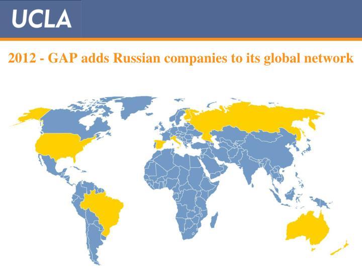 2012 - GAP adds Russian companies to its global network
