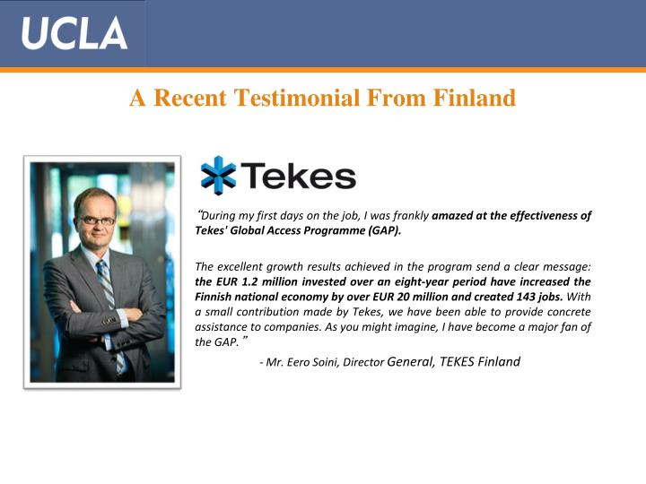 A Recent Testimonial From Finland