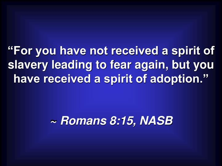 """For you have not received a spirit of slavery leading to fear again, but you have received a spirit of adoption."""