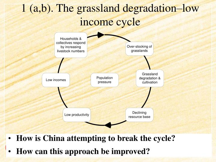 1 (a,b). The grassland degradation–low income cycle