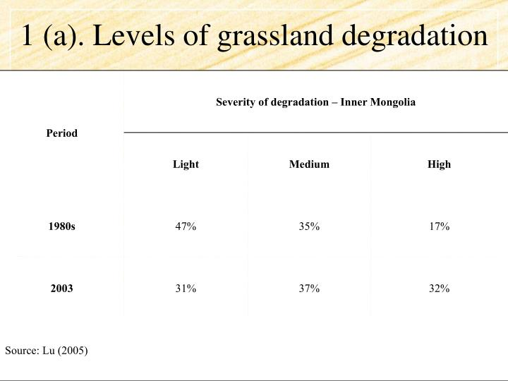 1 (a). Levels of grassland degradation