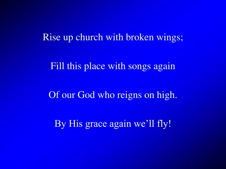 Rise up church with broken wings;