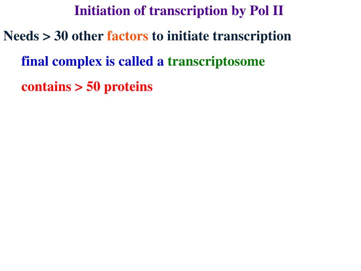 Initiation of transcription by Pol II
