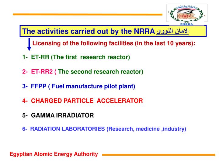 The activities carried out by the NRRA