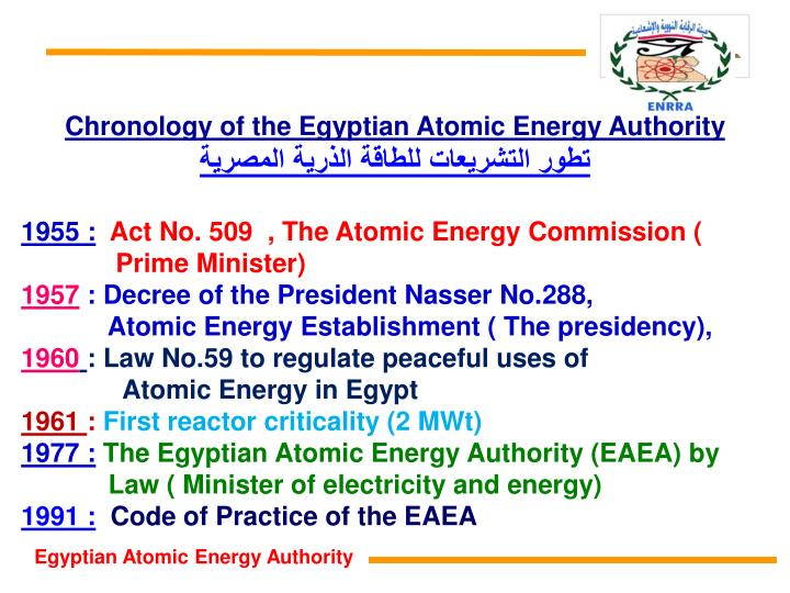 Chronology of the Egyptian Atomic Energy Authority