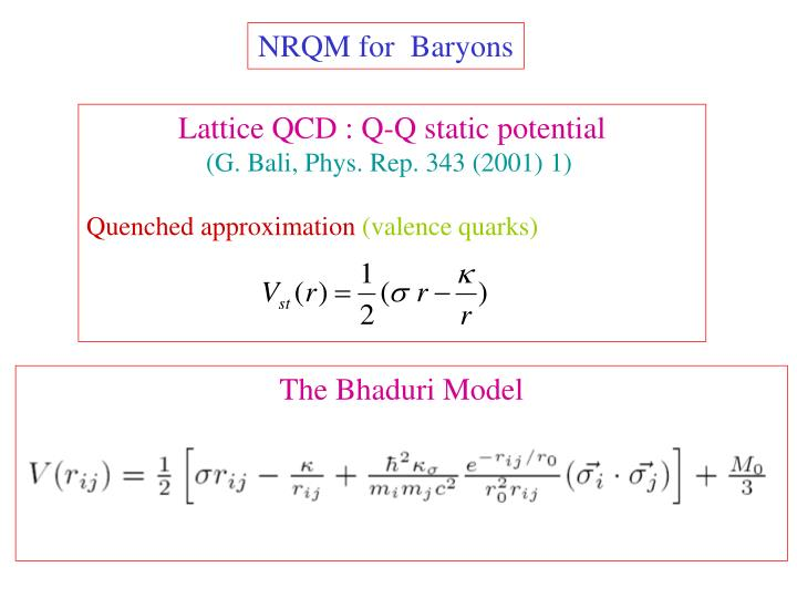 NRQM for  Baryons