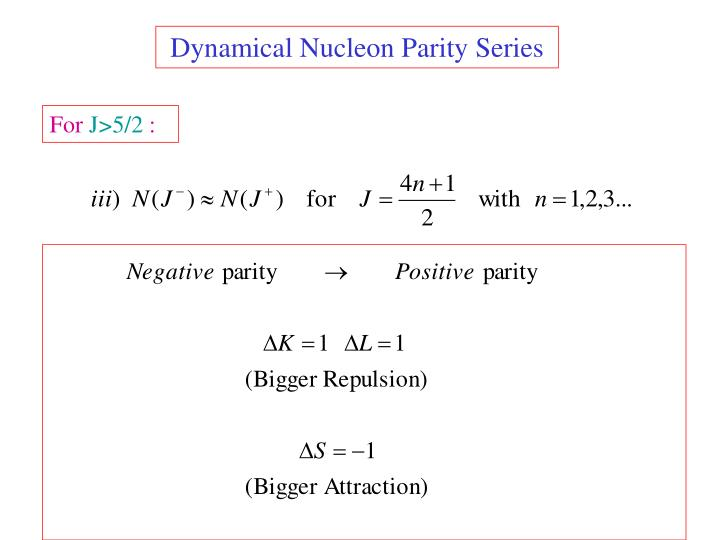 Dynamical Nucleon Parity Series