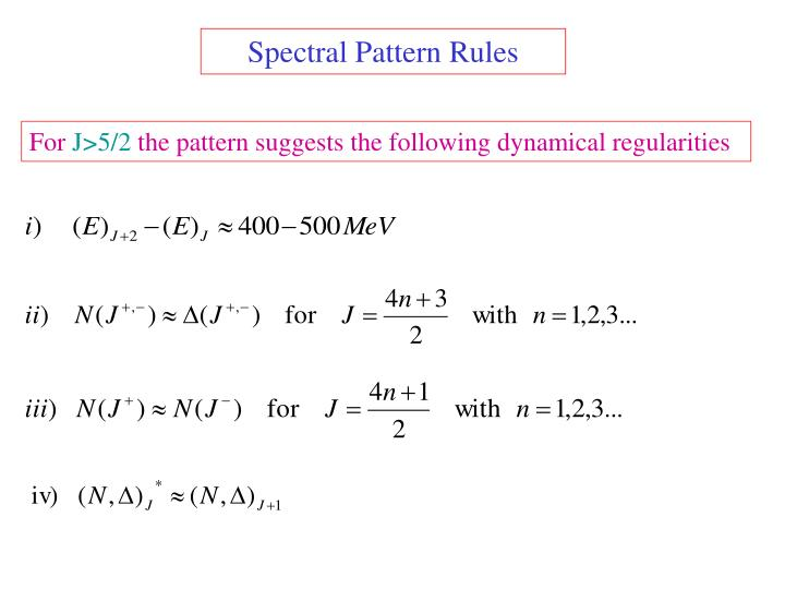 Spectral Pattern Rules