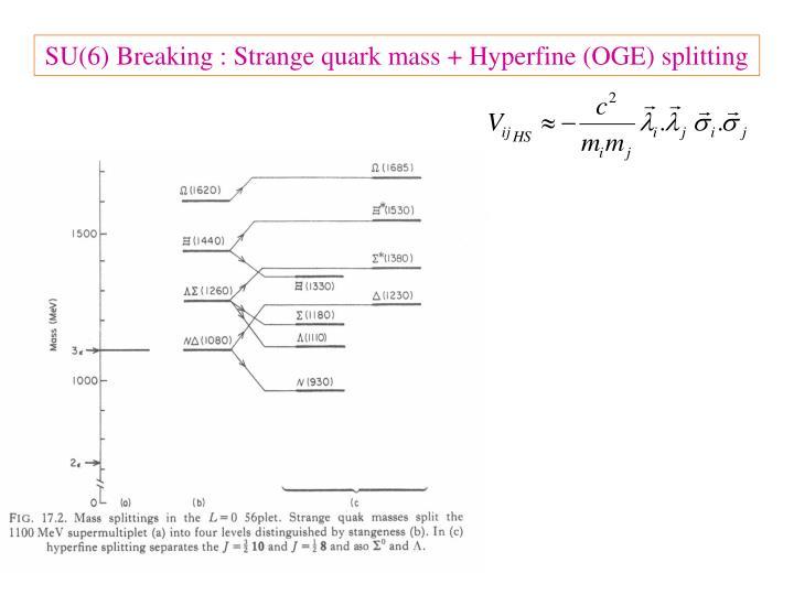 SU(6) Breaking : Strange quark mass + Hyperfine (OGE) splitting