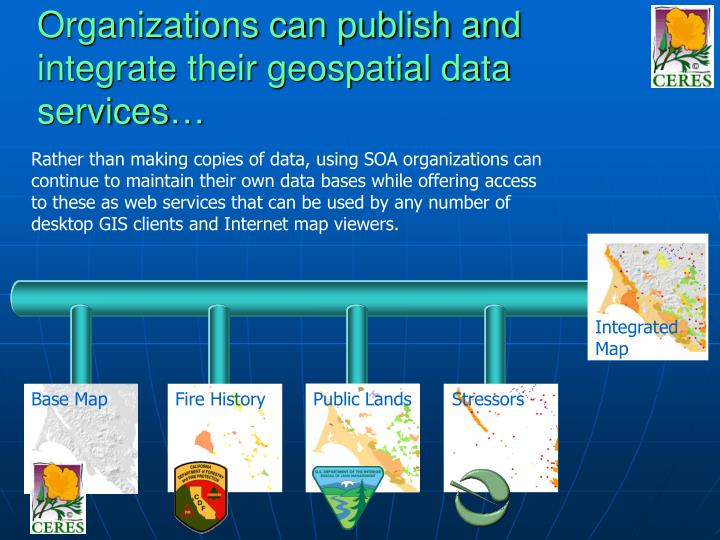 Organizations can publish and integrate their geospatial data services…