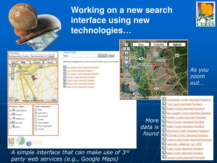 Working on a new search interface using new technologies…