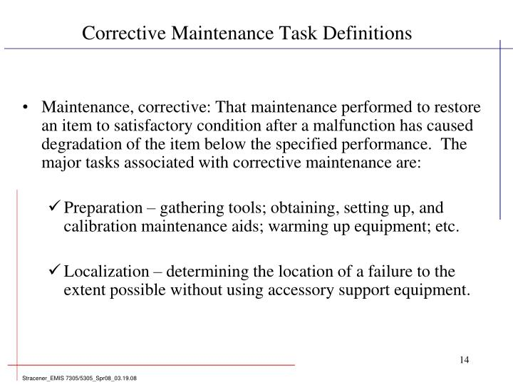 Corrective Maintenance Task Definitions