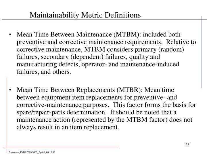 Maintainability Metric Definitions