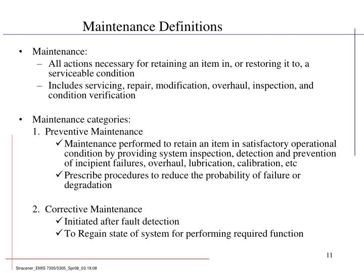 Maintenance Definitions