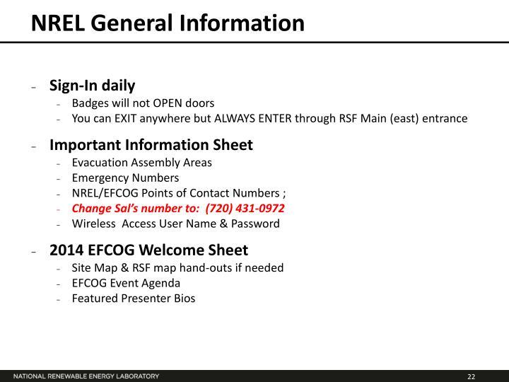 NREL General Information