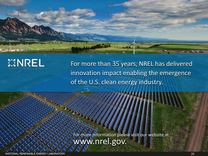 For more than 35 years, NREL has delivered innovation impact enabling the emergence