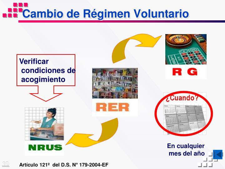 Cambio de Régimen Voluntario