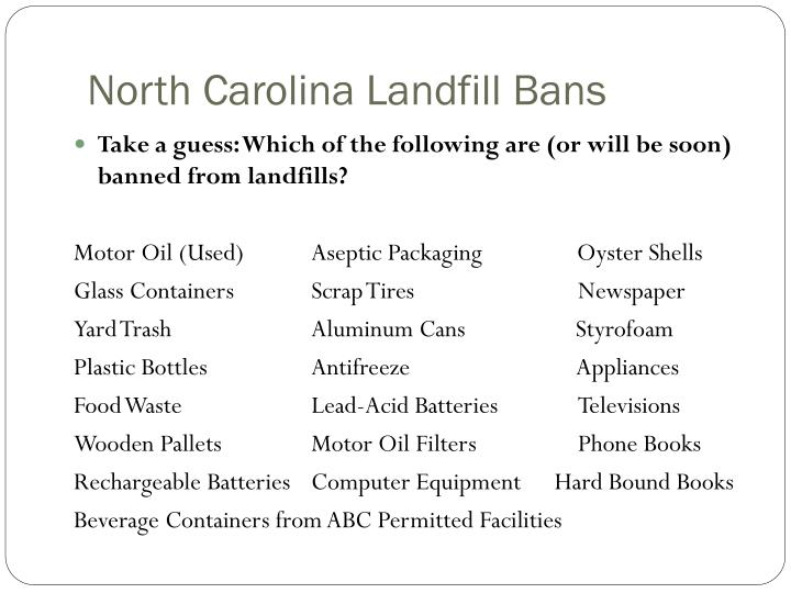 North carolina landfill bans1
