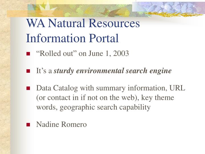 WA Natural Resources Information Portal