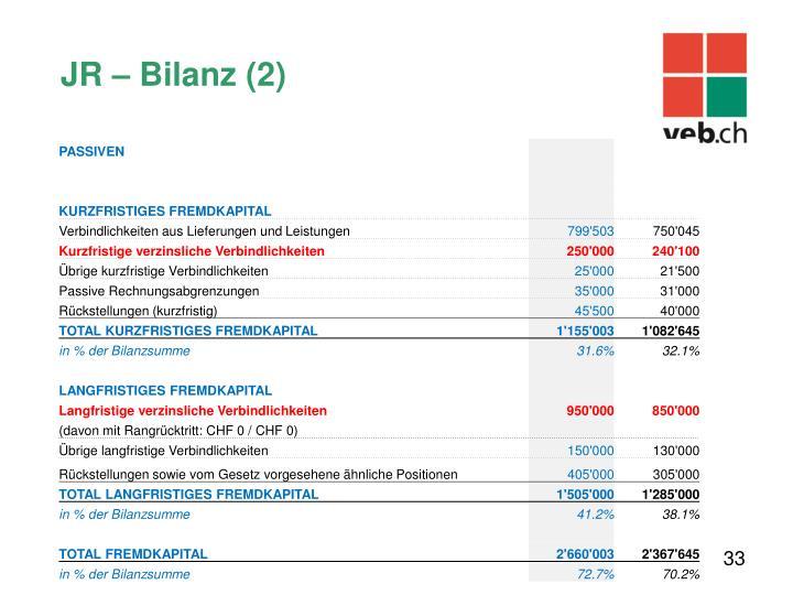 JR – Bilanz (2)