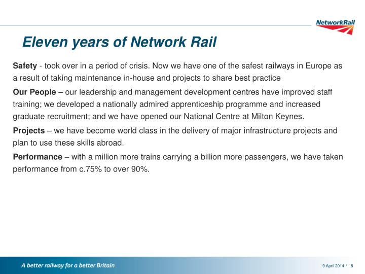 Eleven years of Network Rail