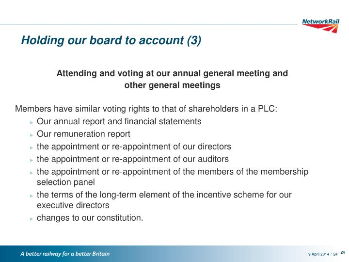 Holding our board to account (3)