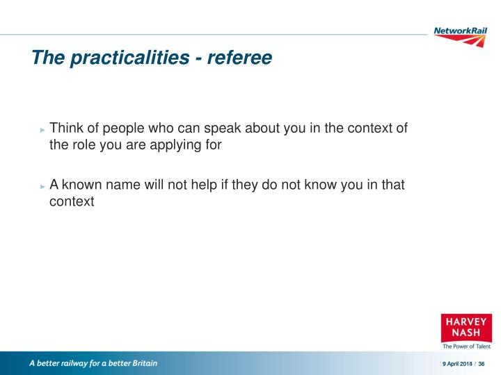 The practicalities - referee