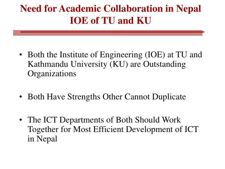 Need for Academic Collaboration in Nepal
