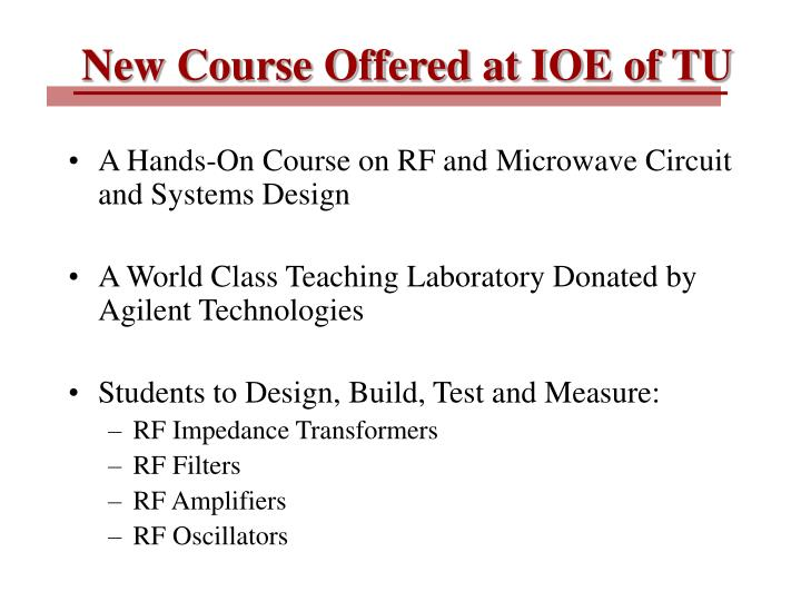 New Course Offered at IOE of TU