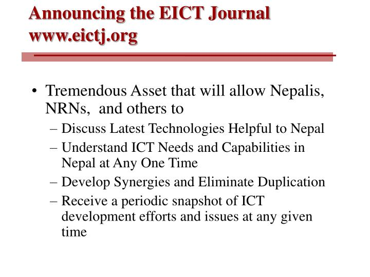 Announcing the EICT Journal