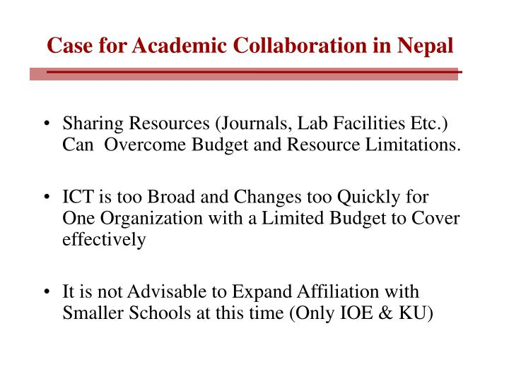 Case for Academic Collaboration in Nepal